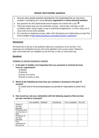 Client Survey Questions