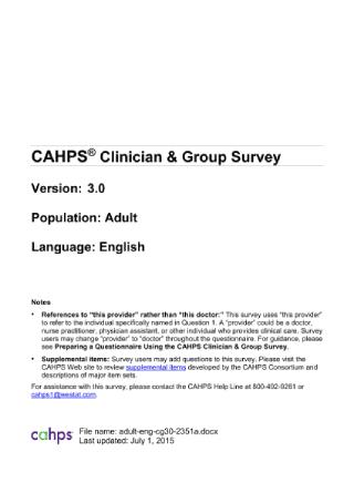 Clinician Group Adult Survey