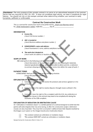 Contract for Construction Work Sample
