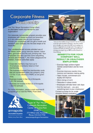 Corporate Fitness Membership Flyer