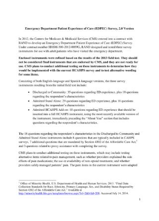 Emergency Department Patient Experience Survey