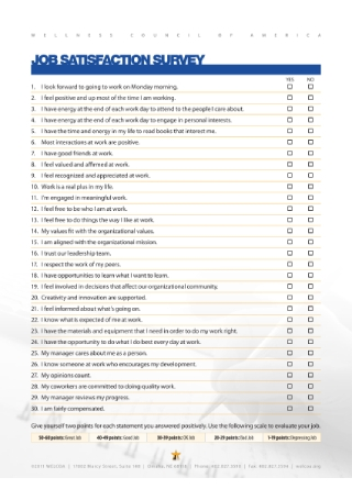 Job Satisfaction Questionnaire