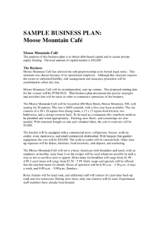 Mountain Café Business Plan