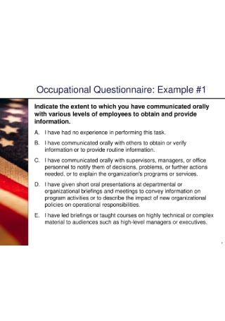 Occupational Questionnaire