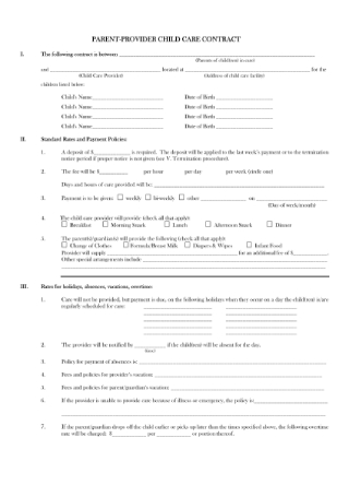 Parent Provider Child Care Contract Sample