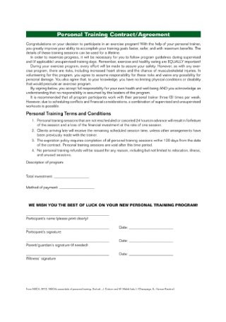 Personal Training Contract Sample