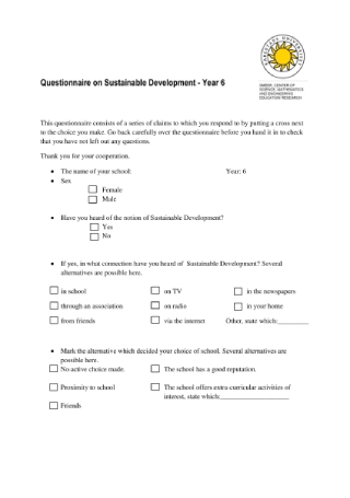 Questionnaire on Sustainable Development