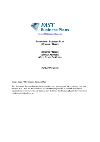 Restaurant Business Plan1