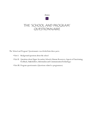 School and Program Questionnaire