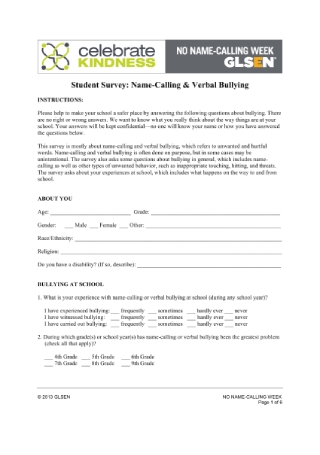 Student Survey for Name Calling Verbal Bullying