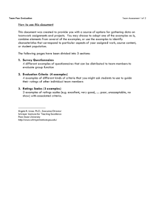 Team Assessment Survey
