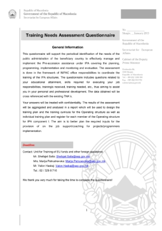 Training Needs Assessment Questionnaire