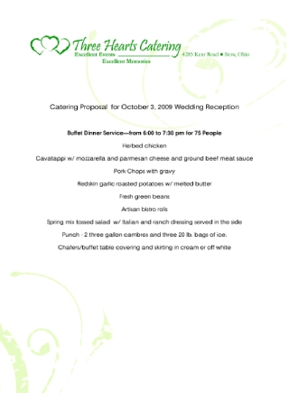 Wedding Catering Service Proposal