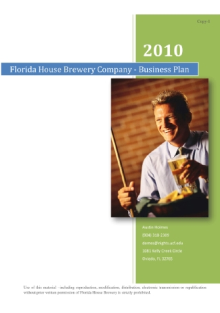 Brewery Company Business Plan