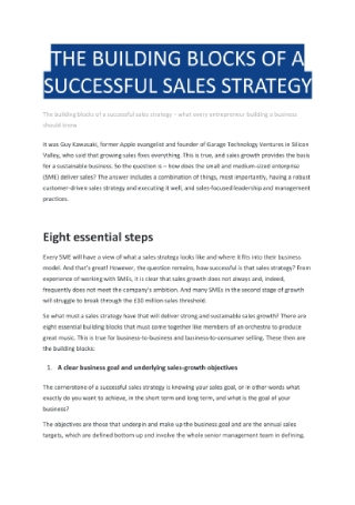 Building Blocks of a Successful Sales Strategy
