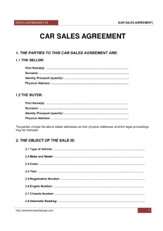 Car Sales Agreement