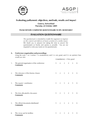 Conference Evaluation Survey Questionnaire