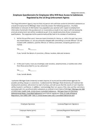 Controlled Substance Authorized User Questionnaire