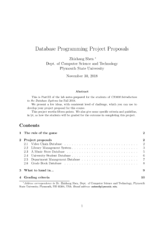 Database Programming Project Proposal