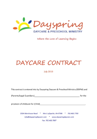 Day Care Contract