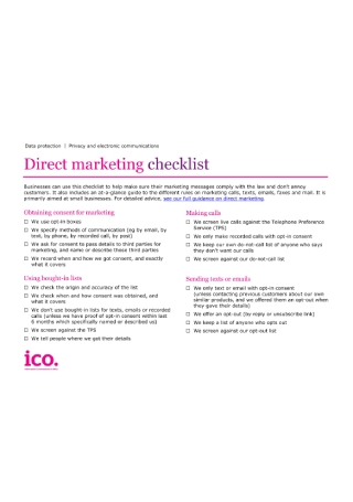 Direct Marketing Checklist