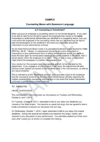 Employee Counseling Memorandum