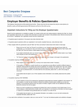 Employer Benefits and Policies Questionnaire