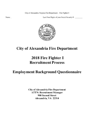 Employment Background Questionnaire