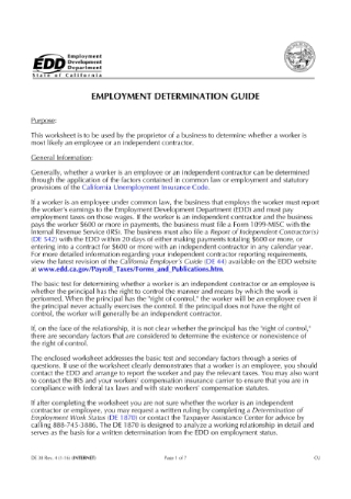 Employment Determination Questionnaire