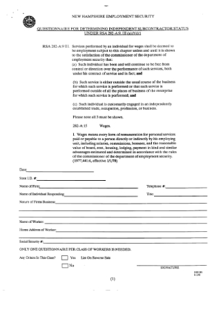 Employment Security Questionnaire