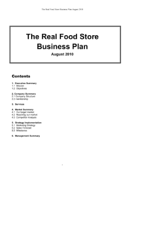 Food Store Business Plan