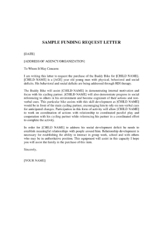 Funding Request Letter