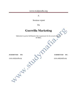 Guerilla Marketing Report