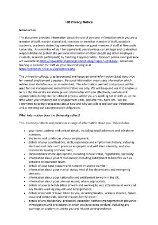 HR Privacy Notice