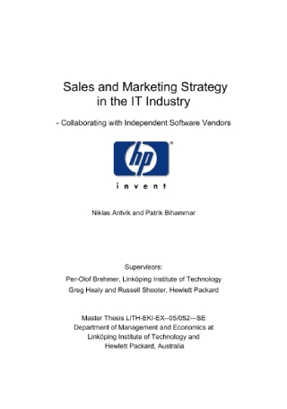 IT Sales and Marketing Strategy