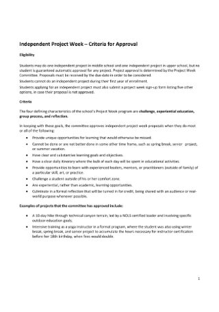 Independent Project Week Proposal Form