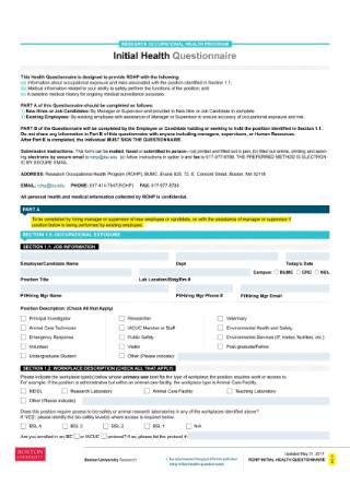 Initial Health Questionnaire