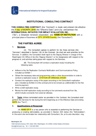 Institutional Consulting Contract
