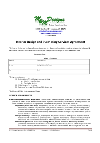 Interior Design and Purchasing Services Agreement
