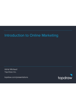 Introduction to Online Marketing