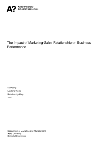Maketing Sales Relationship on Business Performance