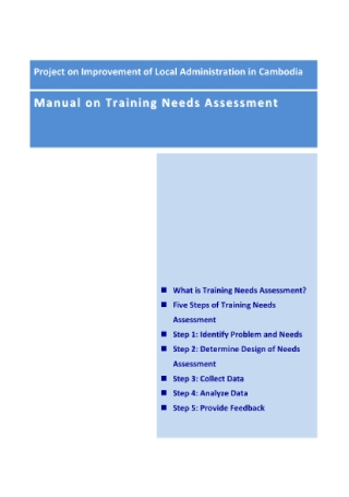 Manual on Training Needs Assessment