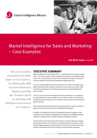 Market Intelligence for Sales and Marketing