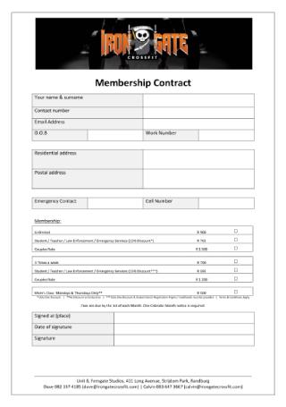Membership Contract