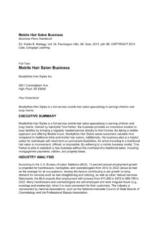Mobile Hair Salon Business Plan