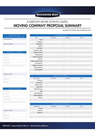 Moving Company Proposal Summary