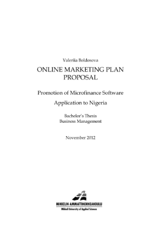 Online Marketing Plan Proposal