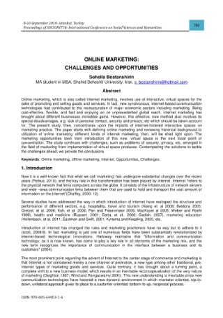 Online Marketing Challenges and Opportunities