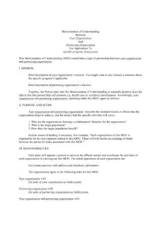 Partnership Memorandum of Understanding