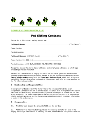 Pet Sitting Contract